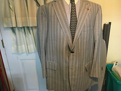 NICE ISAIA NAPOLI RED LABEL 2 BTN WOOL/LINEN BLUE BLACK BIG GUY SUIT 48R-e60