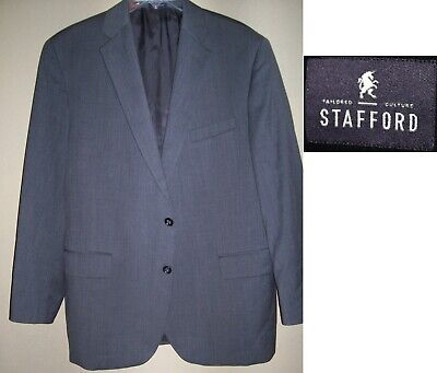 STAFFORD designer GRAY mens suit jacket sz 46R 46 REGULAR