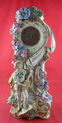"Large Antique German Figural Man Music Porcelain Statue, 16"" tall, No Clock"