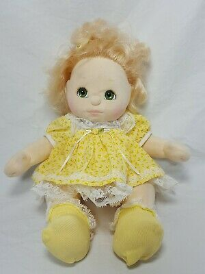 Vintage 1985 My Child Doll Blonde With Green Eyes Yellow Dress Bow Socks
