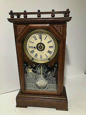 "Antique 8 Day Seth Thomas City Series ""Omaha"" Mantle Chime Clock Working"