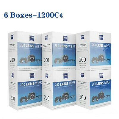 Zeiss Lens Cleaning Wipes Glasses Screen Optical Camera Cleaner (6 Boxes-1200Ct)