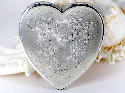 Vintage 1950's Sterling Silver 925 La Mode Floral Engraved Heart Mirror Compact