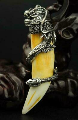 chinese old animal teeth inset Tibet silver hand engraving dragon pendant a02