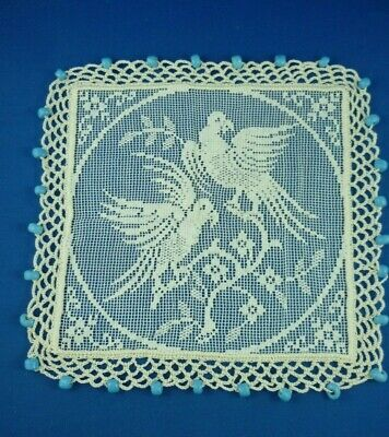 Parrots Aqua Blue Glass Beaded Antique White Crocheted Edge Jug Cover