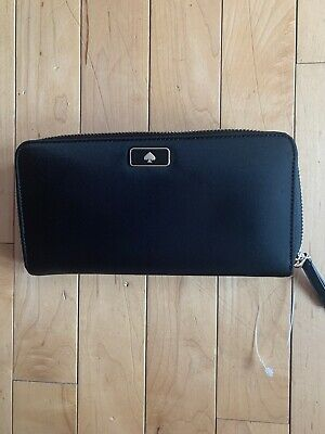 NEW Kate Spade Large Continental Zip Around Wallet Dawn WLRU5372 Nylon Black