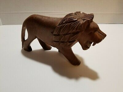 Decorative Hand Carved Wood Wooden Lion Figurine Statue