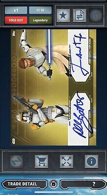 Topps Star Wars Card Trader Clone Gold Dual Signature Commander Cody Obi-Wan 50