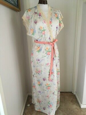 VINTAGE 70s ALISSA FLORAL LACE LONG DRESSING GOWN ROBE HOUSE COAT Vtg16 Mod 12