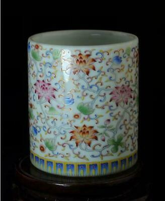 China Old Hand-Made White Glaze Pastel Porcelain Flower Brush Pot C01