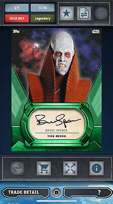 Topps Star Wars Card Trader Bruce Spence As Tion Medon Green Signature 10cc