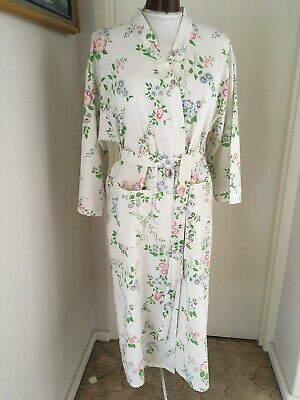 VINTAGE 50 60s COTTON FLORAL KIMONO STYLE HOUSE COAT DRESS ING GOWN ROBE Sz 12