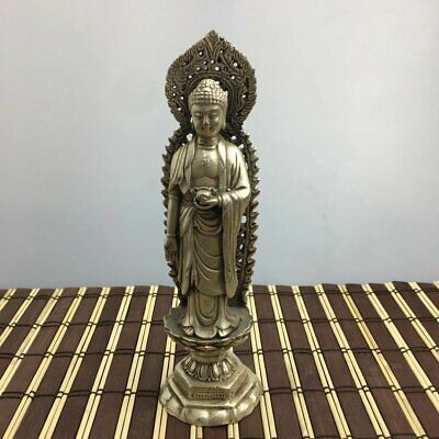chinese Old copper plating silver Hand-Carved the standing Buddha Statue d01