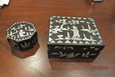 Antique Chinese Mother of Pearl Inlay Wood Boxes with Lids (2)