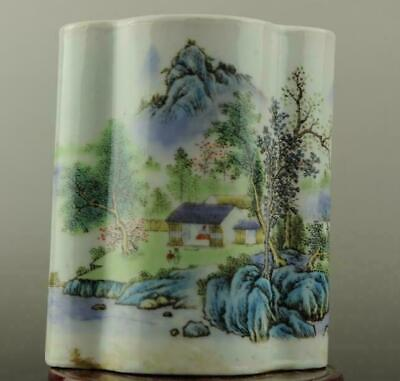 china old hand-made famille rose Porcelain Hand painted landscape brush pot b02