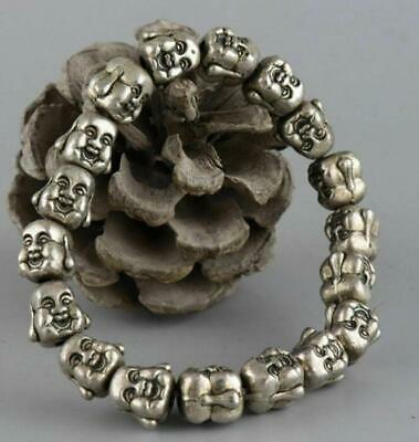 Old Miao Silver Hand-Carved 2 Face Buddha Moral Bring Luck Bracelet /Ta01