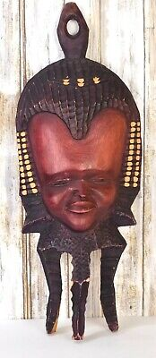 """African Tribal Art Wood Wooden Hand Carved Mask Souvenir 20"""""""