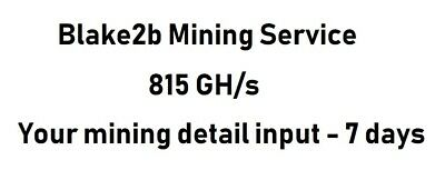 Blake2b Mining Contract 815 Gh/s 7 days Crypto Currency Mining