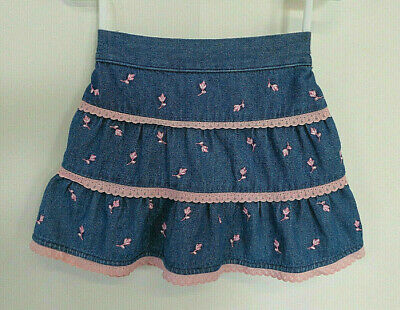 Baby Girl's Blue Denim Skirt with Pink Roses & Trim - Size 000 - Brand: Target
