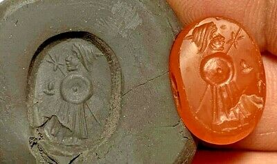 Very Rare Ancient Greek Circa 300-100 Bc Intaglio Man/Soldier Carnelian Stone