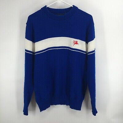 Vintage Mobil Gas Oil Pegasus Advertising Promo Sweater Blue White Size Large