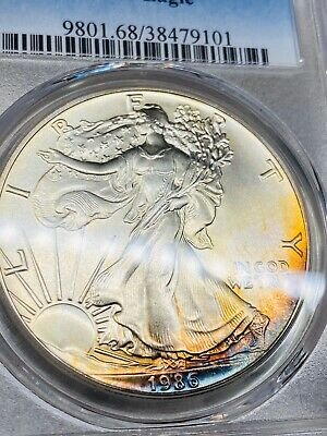 Rainbow Toning 1986 American Silver Eagle $1~Certified PCGS MS 68~First Year!