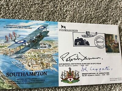 Signed Raf First Day Cover Multi Signed Supermarine Southampton Dso Winner