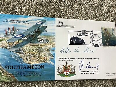 Signed Raf First Day Cover Multi Signed Supermarine Southampton