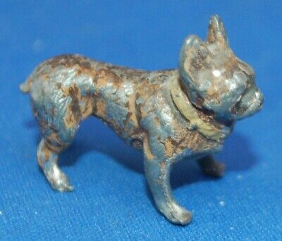 A small metal standing French Bulldog figure, antique possibly lead