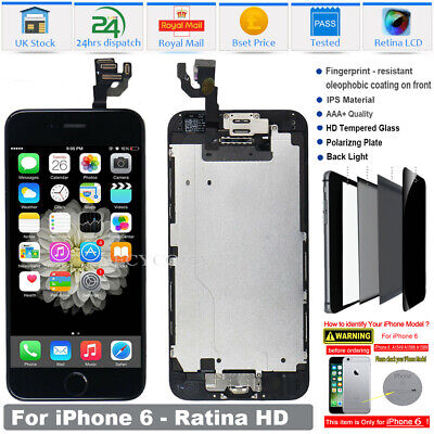 For iPhone 6 LCD Screen Replacement Digitizer Display Touch Button Camera Black