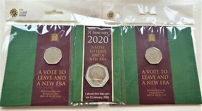 2 Brexit 50p Coin Official Royal Mint Brand New Uncirculated 2020 Pack & SYO 50P