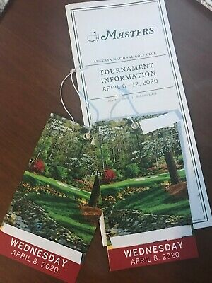 2 Tickets 2020 Masters Golf Wednesday April 8 Practice Round & Par 3 Tournament