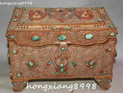 "9""Tibet 24K Gold Filigree Inlay Turquoise Coral 8 Symbol Jewel Jewelry Box Boxes"