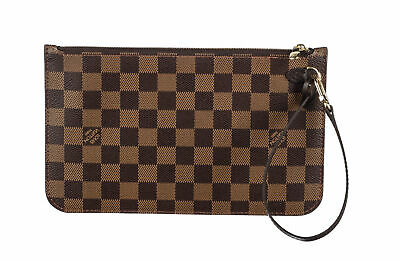 LOUIS VUITTON Brown Damier Ebene Coated Canvas Neverfull MM GM Pochette Bag