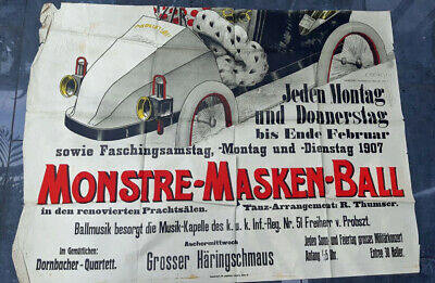 Originalplakat lithographiert MONSTRE-MASKEN-BALL 1907