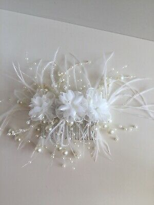 Wedding Bridal Ivory  Flower Hair Comb Fascinator Ivory Pearl Bead & Feathers