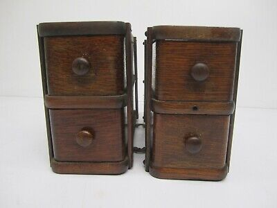 Pair Antique Singer Sewing Machine Treadle Wood Wooden 4 Drawers & 2 Frames