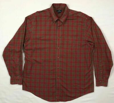 Brooks Brothers 346 Mens Red/Brown Plaid L/S Button Down Shirt Sz Large C5