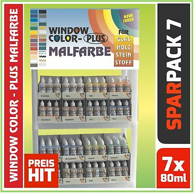 SET Window Color Fenstermalfarbe Sonderfarben Nr.1 7x 80ml