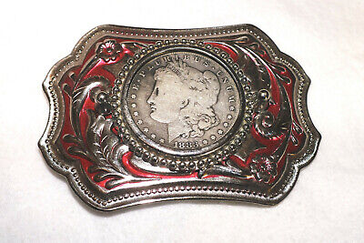 Ornate Western Belt Buckle with 1883-S Morgan Silver Dollar