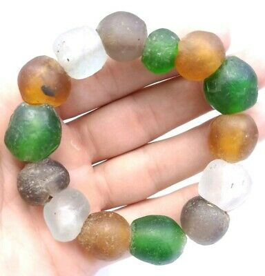 Antique Afghan Roman Glass Old Rare Ancient Round Beads Bracelet Jewelry Collect