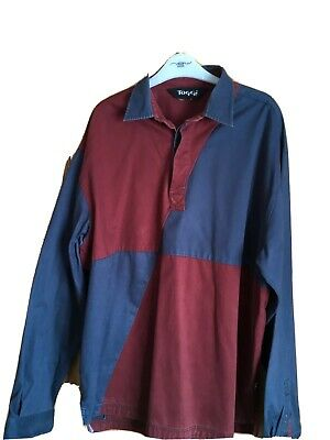 TOGGI Mens Rugby Style Shirt, Long Sleeve, Burgundy/Blue Size Large, Ex. Cond.
