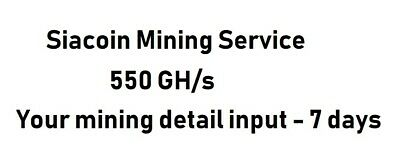 Siacoin ASIC Mining Crypto Currency Contract 550 GH/s 7 days