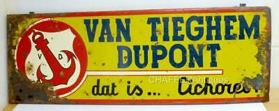 Antique Tin & Enamel SIGN Van Tieghem Dupont Chicory Flanders Very RARE
