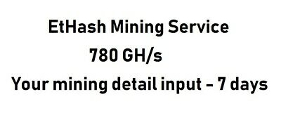EtHash ASIC Mining Crypto Currency Contract 780 GH/s 7 days