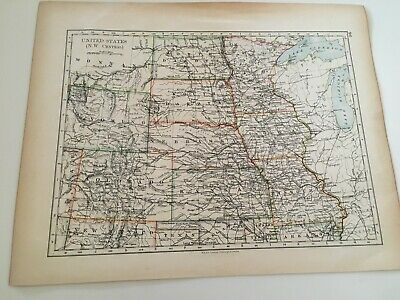 1897 Map Of United States, N.w. And Central Areas
