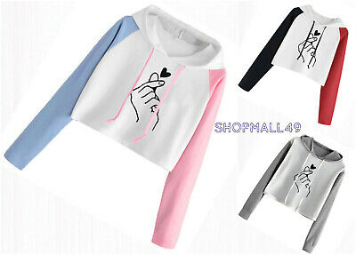Girls Top Hoodie Waist Cropped Long Sleeve Hooded Thin Age 9-16 17 18 years