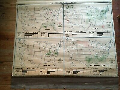 Rare Antique 1919 School Roll Pull Down Map Finch Nystrom Cloth  Usa Series