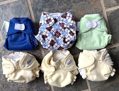 Grovia Bumgenius & Thirsties all-in-one newborn size 1 Cloth diapers lot of 6