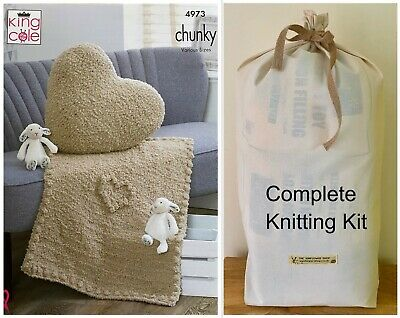 KNITTING KIT BABY BLANKET & CUSHION Super Soft King Cole's Cuddle Chunky